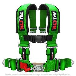 50 Caliber Racing 4 Point 2 Seat Belt Safety Harness GREEN for RZR XP1000 UTV