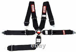 5 Point Racing Harness Seat Belt 3 Sfi 16.1 Cam Lock Roll Bar Mount Black