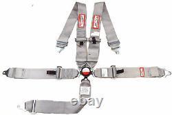 5 Point Racing Harness Seat Belt 3 Sfi 16.1 Cam Lock Roll Bar Mount Gray