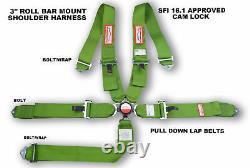 5 Point Racing Harness Seat Belt 3 Sfi 16.1 Cam Lock Roll Bar Mount Lime Green