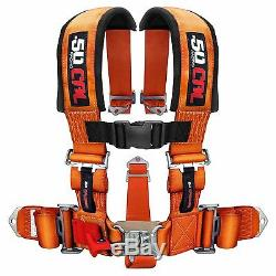 5 Point Safety Harness 2 Inch Padded Seat Belt Latch Lock Sternum Strap Orange