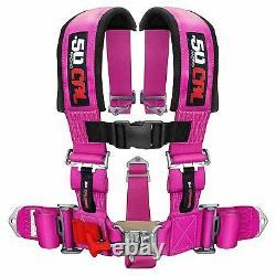 5 Point Safety Harness 2 Inch Padded Seat Belt Latch Lock Sternum Strap Pink