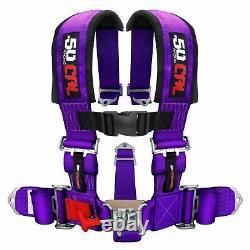 5 Point Safety Harness 2 Inch Padded Seat Belt Latch Lock Sternum Strap Purple