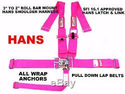 All Wrap 5 Point Hans Sfi 16.1 Racing Harness 3 Belt Hot Pink Seat Belt
