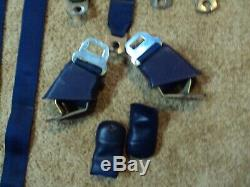 BLUE 1969 Chevelle Seat Belts, harnesses complete set with3 rear & retractors dated