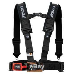 Black 2'' 4-Point Universal Nylon Racing Safety Harness Shoulder Pads Seat Belt