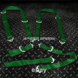Black 49stainless Steel Chassis Harness Bar+green 4-pt Strap Camlock Seat Belt