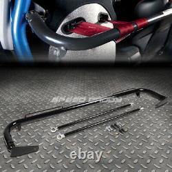 Black 49stainless Steel Chassis Harness Bar+red 4-pt Strap Camlock Seat Belt