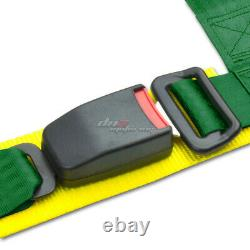 Black 49stainless Steel Chassis Harness Rod+green 4-pt Strap Buckle Seat Belt