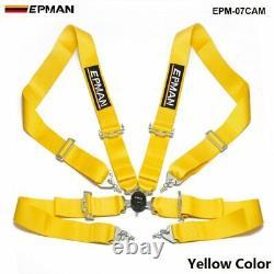 Black Universal 4-Point 3 Nylon Strap Harness Safety Camlock Racing Seat Belt