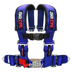 Blue 3 In 4 Point Harness Seat Safety Belt UTV SXS Off Road Truck RZR New