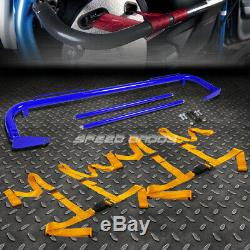 Blue 49stainless Steel Chassis Harness Bar+gold 4-pt Strap Buckle Seat Belt