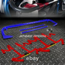 Blue 49stainless Steel Chassis Harness Bar+red 4-pt Strap Buckle Seat Belt