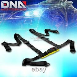 Blue 49stainless Steel Chassis Harness Rod+black 4-pt Strap Buckle Seat Belt
