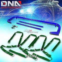 Blue 49stainless Steel Chassis Harness Rod+green 4-pt Strap Camlock Seat Belt