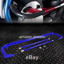 Blue 49stainless Steel Harness Bar+blue 6-pt Shoulder Strap Camlock Seat Belt