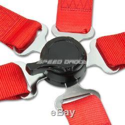 Blue 49stainless Steel Harness Bar+red 6-pt Shoulder Strap Camlock Seat Belt