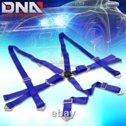 Blue 49stainless Steel Harness Rod+blue 6-pt Shoulder Strap Camlock Seat Belt