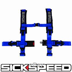 Blue 4 Point 2 Nylon Racing Harness Shoulder Pad Safety Seat Belt Buckle