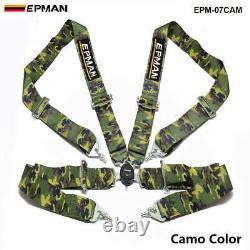 Camo Universal 4-Point 3 Nylon Strap Harness Safety Camlock Racing Seat Belt
