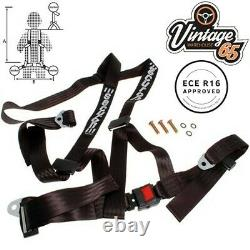Classic Car ECE Approved 3 Point Fully Adjustable Rally Harness Seat Belt Black
