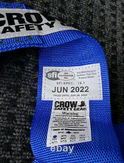 Crow Racing 5 Point Seat Belts Harness, Pull Down, Bolt In, Blue