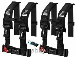 Dragonfire Racing 4 Point Harness 3 Black 2 Pack with Seat Belt Bypass Clip