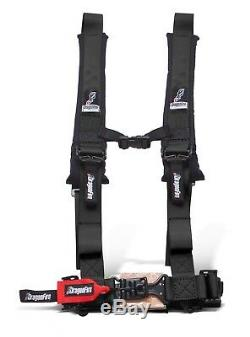 Dragonfire Racing Black H-Style 4 Point 2 Seat Belt Harness Sewn In Universal