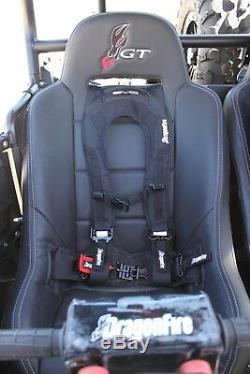 Dragonfire Racing Black Pair EVO 4 Point Seat Belt Safety Harnesses Universal