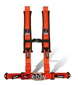 Dragonfire Racing Orange H-Style 4 Point 2 Seat Belt Harness Sewn In Universal