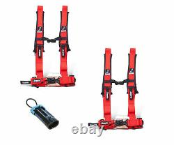 Dragonfire Safety Seat Belts Harness Pair 4 Point 2 Bypass Red Polaris Can Am