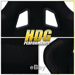 Driver+Passenger Jdm Black Bucket Racing Seat + 2X 5 Point Seatbelt Harness Set