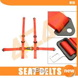 Fits 2 X JDM Red 4-Point Racing Seats Belts Harness