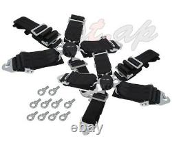 Godsnow 2X(Two) 5 Point Racing Safety Harness Camlock 3 Steap Seat Belt Black