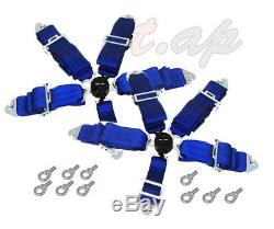 Godsnow 2X(Two) 5 Point Racing Safety Harness Camlock 3 Steap Seat Belt Blue