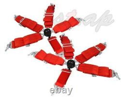 Godsnow Universal Pair 2X 5-Point 3 Inch Camlock Seatbelt Seat Belt Harness Red