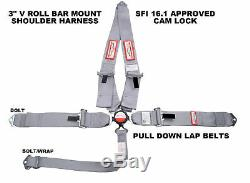 Gray Safety Harness Sfi 16.1 Racing 5 Point V Mount 3 Cam Lock Seat Belt