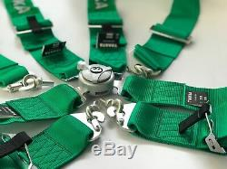 Green 4 Point Camlock Quick Release Racing Car Seat Belt Harness