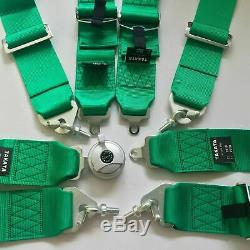 Green 4 Point Camlock Quick Release Racing Car Seat Belt Harness Universal