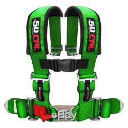 Green Race H Harness Seat Belt 4 Point Pads Sand Rail 2x2 Style Longtravel Car