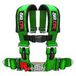 Green Universal 4 Point Race Track Harness 3in Padded Safety Seat Belt Restraint