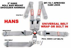 Hans Universal Racing Harness Seat Belt 3 Sfi 16.1 5 Point Gray Wrap Or Bolt In
