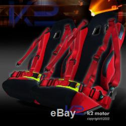 JDM Black/Red Sport Racing Seat Reclinable+2PC Red 4-Point Harness Belts