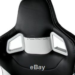 JDM Speed Racing Seats Reclinable Style Black And White+Seat Belt Harness Red