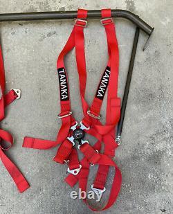 NRG INNOVATIONS Aluminum 4-Point TANAKA Safety Seat Belt Harness Bar Set