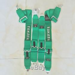 NWT Universal Green 4 Point Camlock Quick Release Racing Car Seat Belt Harness G