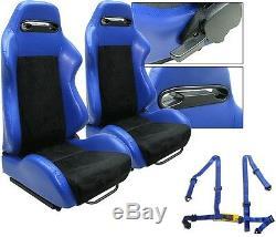 New 1 Pair Blue & Black Adjustable Racing Seats + Seat-belt Harness All Toyota