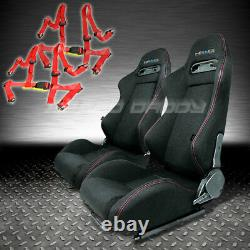 Nrg 2 X Type-r Fully Reclinable Black Racing Seats+slider+4pt Red Harness Belt