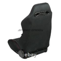 Nrg Black Suede Reclinable Racing Seats+slider+6pt 3 Red Camlock Harness Belts