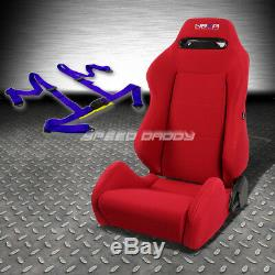 Nrg Type-r Red Reclinable Driver Left Side Racing Seat+4-point Blue Harness Belt